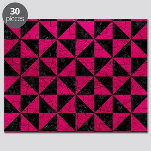 TRIANGLE1 BLACK MARBLE & PINK LEATHER Puzzle