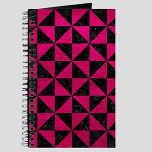 TRIANGLE1 BLACK MARBLE & PINK LEATHER Journal
