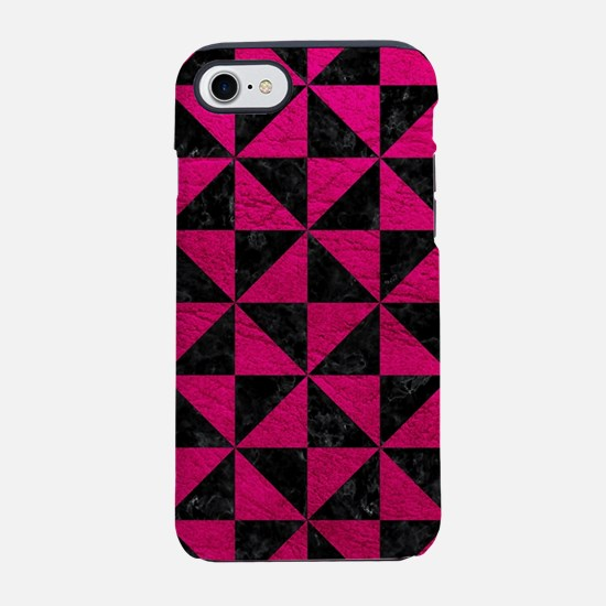 TRIANGLE1 BLACK MARBLE & PINK iPhone 7 Tough Case