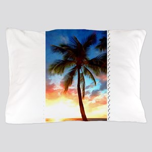 Palm Tree Sunset Stamp Pillow Case