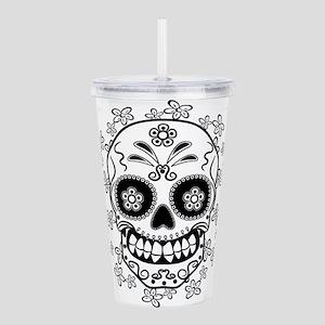 Sugar Skull.B W Acrylic Double-wall Tumbler