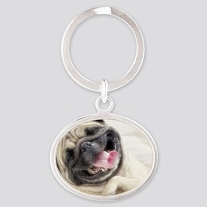 Pug Oval Keychain