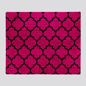 TILE1 BLACK MARBLE & PINK LEATHER Throw Blanket