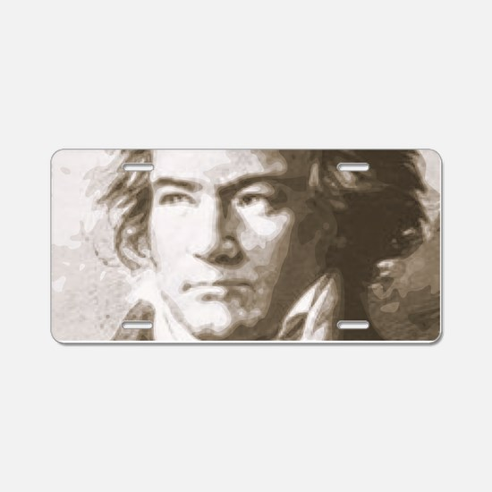 Beethoven In Sepia Aluminum License Plate