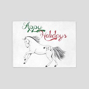 Fun Christmas Horse Appy Holidays A 5'x7'Area Rug