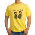 Gay Wedding 2 Grooms Yellow T-Shirt