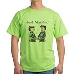Gay Wedding 2 Grooms Green T-Shirt