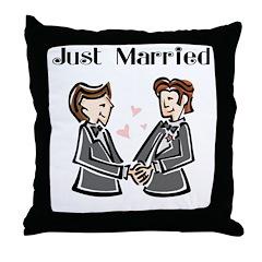 Gay Wedding 2 Grooms Throw Pillow