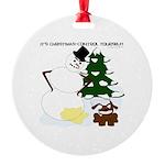 Christmas Yellow Snow Round Ornament