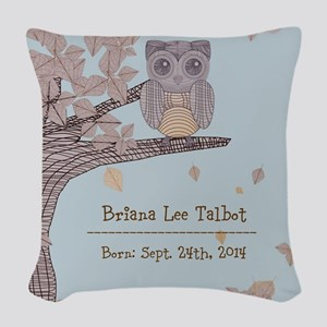 Personalized Owl In Tree Baby Woven Throw Pillow