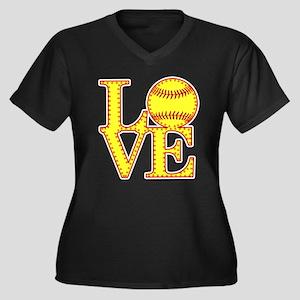 LOVE SOFTBALL STITCH Print Plus Size T-Shirt