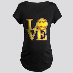 LOVE SOFTBALL STITCH Print Maternity T-Shirt