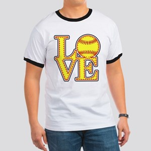 LOVE SOFTBALL STITCH Print T-Shirt
