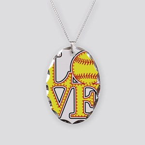 LOVE SOFTBALL STITCH Print Necklace Oval Charm