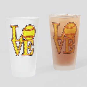 LOVE SOFTBALL STITCH Print Drinking Glass