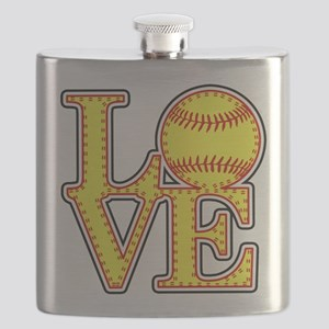 LOVE SOFTBALL STITCH Print Flask
