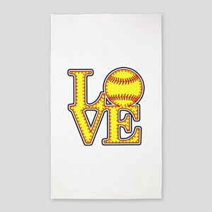 LOVE SOFTBALL STITCH Print Area Rug