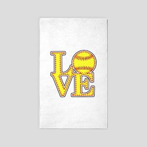 LOVE SOFTBALL STITCH Print Area Rug