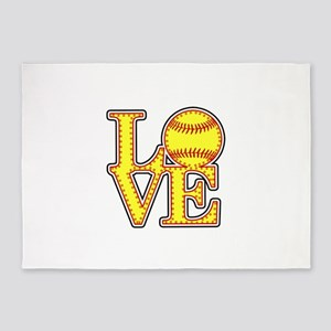 LOVE SOFTBALL STITCH Print 5'x7'Area Rug