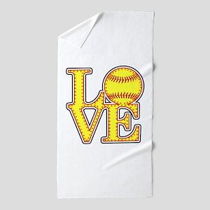 LOVE SOFTBALL STITCH Print Beach Towel