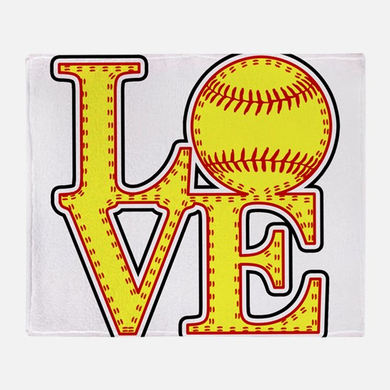 LOVE SOFTBALL STITCH Print Throw Blanket