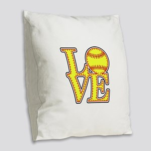 LOVE SOFTBALL STITCH Print Burlap Throw Pillow