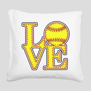 LOVE SOFTBALL STITCH Print Square Canvas Pillow