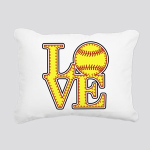 LOVE SOFTBALL STITCH Pri Rectangular Canvas Pillow