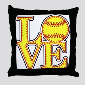 LOVE SOFTBALL STITCH Print Throw Pillow