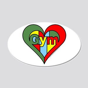 Gym Heart 20x12 Oval Wall Decal