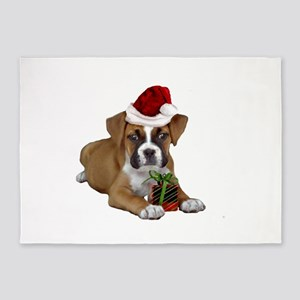 Christmas Boxer puppy 5'x7'Area Rug
