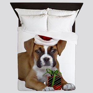 Christmas Boxer puppy Queen Duvet