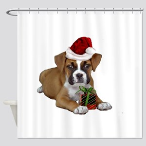 Christmas Boxer puppy Shower Curtain