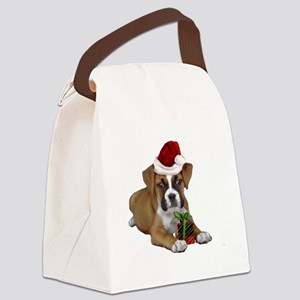 Christmas Boxer puppy Canvas Lunch Bag