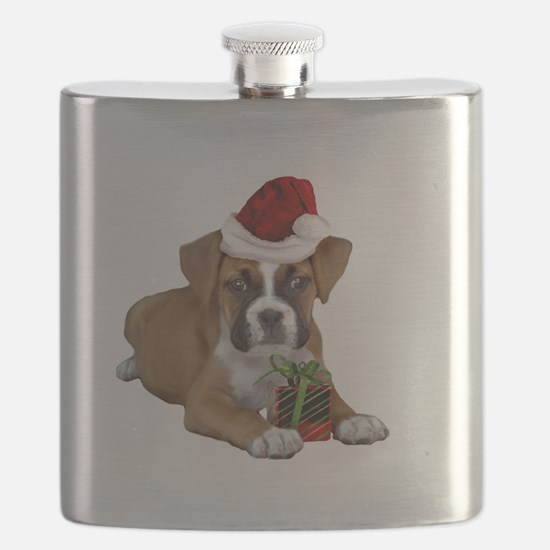Christmas Boxer puppy Flask