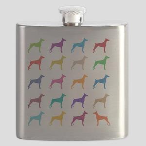 Colorful Dobermans Flask