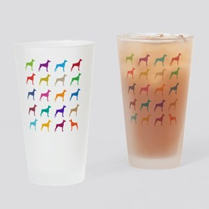 Colorful Dobermans Drinking Glass