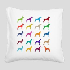 Colorful Dobermans Square Canvas Pillow