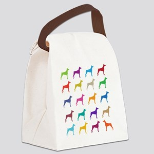 Colorful Dobermans Canvas Lunch Bag