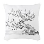 Japanese plum Woven Throw Pillow