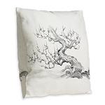 Japanese plum Burlap Throw Pillow