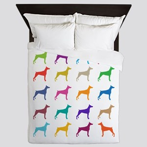 Colorful Dobermans Queen Duvet