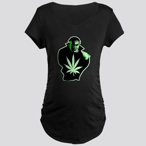 Halloween Weed Leaf Dracula Maternity Dark T-Shirt