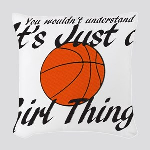 basketball Girl Thing Woven Throw Pillow