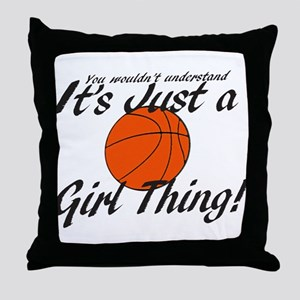 basketball Girl Thing Throw Pillow