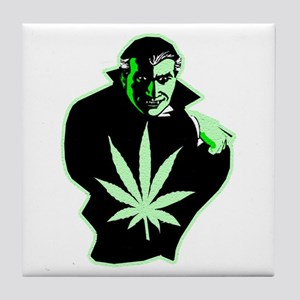 Halloween Weed Leaf Dracula Tile Coaster
