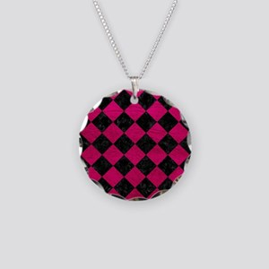 SQUARE2 BLACK MARBLE & PINK Necklace Circle Charm
