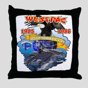 USS Midway CV-41 Westpac Throw Pillow