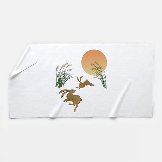 Moon, japanese pampas grass and rabbit Beach Towel