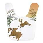 Moon, japanese pampas grass and Polyester Baby Bib